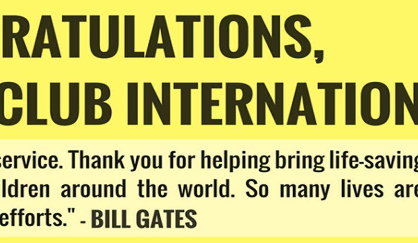 Diretor Geral do RI envia mensagem de parabéns ao Lions Club pelos 100 anos