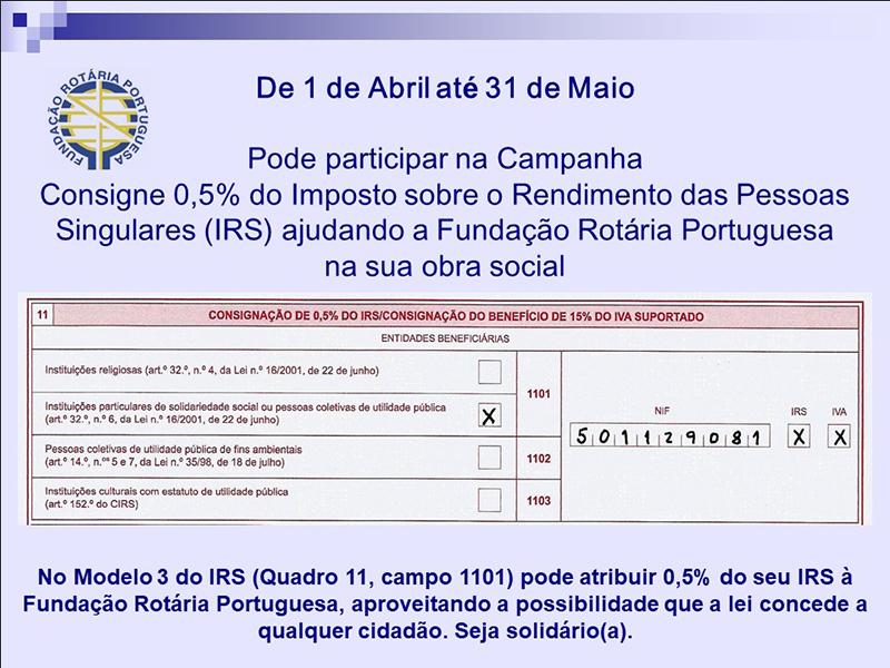 Destine 0,5% do seu IRS à Fundação Rotária Portuguesa
